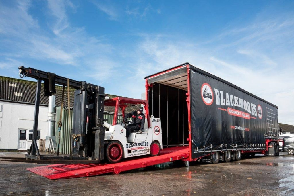 Blackmores Machinery Haulage purpose-built forklift trailer.